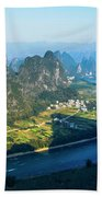 Karst Mountains And Lijiang River Scenery Beach Towel