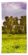 Landscape Oil Painting Nature Beach Towel