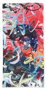 Abstract Calligraphy Beach Towel