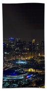Chicago Night Skyline Aerial Photo Beach Towel