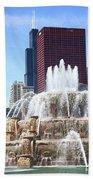 Chicago Skyline And Buckingham Fountain Beach Towel