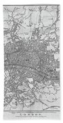 1800s London Map Black And White London England Beach Towel