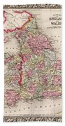 1800s Wales County Map Wales England Color Beach Towel