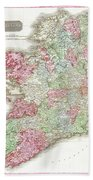 1818 Pinkerton Map Of Ireland Beach Towel