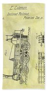 1845 Locomotive Patent Beach Towel