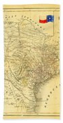 1849 Texas Map Beach Towel