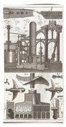 1850 Construction Of Steam Ship Beach Towel