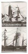 1850 European Sailing Ship Beach Towel