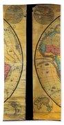 1858 Set Of Two Pelton Wall Maps, Western Hemisphere And Eastern Hemisphere  Beach Towel