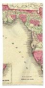 1864 Florida Map Color Beach Towel