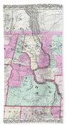 1866 Colton Map Of Oregon Washington Idaho And Montana W Wyoming Beach Towel