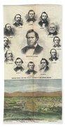 1866 Harpers Weekly View Of Salt Lake City Utah W Brigham Young Mormons Beach Towel