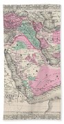 1866 Johnson Map Of Arabia Persia Turkey And Afghanistan Iraq Beach Towel