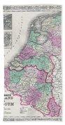1866 Johnson Map Of Holland And Belgium Beach Towel