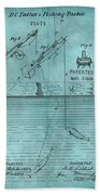 1868 Fishing Tackle Patent Blue Beach Towel