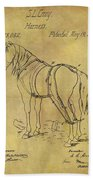 1868 Horse Harness Patent Beach Towel