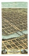 1869 Map Of Kankakee Beach Towel