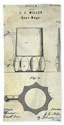 1873 Beer Mug Patent Beach Towel