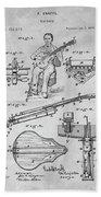 1873 Guitar Patent Blueprint Beach Towel
