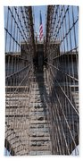 1875 Brooklyn Bridge Tower Color  Beach Towel