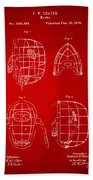 1878 Baseball Catchers Mask Patent - Red Beach Towel