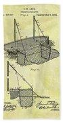 1882 Fishing Net Patent Beach Towel