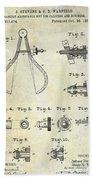 1886 Caliper And Dividers Patent Beach Towel