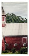1886 Red Barn Beach Towel by Lisa Russo