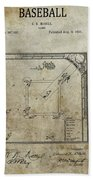 1887 Baseball Game Patent Beach Towel