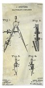 1888 Draftsmans Compass Patent  Beach Towel