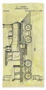 1891 Locomotive Patent Beach Towel
