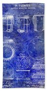 1892 Bottle Cap Patent Blue Beach Towel