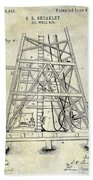 1893 Oil Well Rig Patent Beach Towel