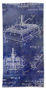 1894 Wine Press Patent Blue Beach Towel