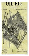 1896 Oil Rig Illustration Beach Towel