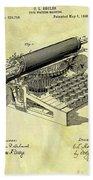 1896 Typewriter Patent Beach Towel