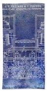 1897 Beer Brewering Patent Blue Beach Towel