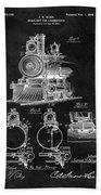1898 Locomotive Headlight Patent Beach Towel