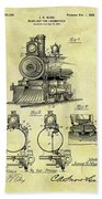 1898 Locomotive Patent Beach Towel