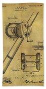 1899 Fishing Reel Patent Beach Towel