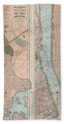 1899 Home Life Map Of New York City  Manhattan And The Bronx  Beach Towel