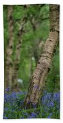 Shallow Depth Of Field Landscape Of Vibrant Bluebell Woods In Sp Beach Towel