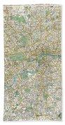 1900 Bacon Pocket Map Of London England  Beach Towel