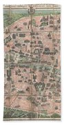 1900 Garnier Pocket Map Or Plan Of Paris France  Eiffel Tower And Other Monuments  Beach Towel