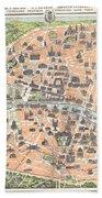 1900 Garnier Pocket Map Or Plan Of Paris France Eiffel Tower  Beach Towel