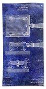 1900 Knife Switch Patent Blue Beach Towel