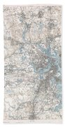 1900 Us Geological Survey Of Boston And Vicinity Massachusetts Beach Towel