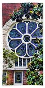 1901 Antique Uab Gothic Stained Glass Window Beach Towel by Kathy Clark