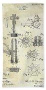1903 Beer Tap Patent Beach Towel