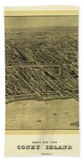 1906 Bird's Eye View Coney Island Beach Towel